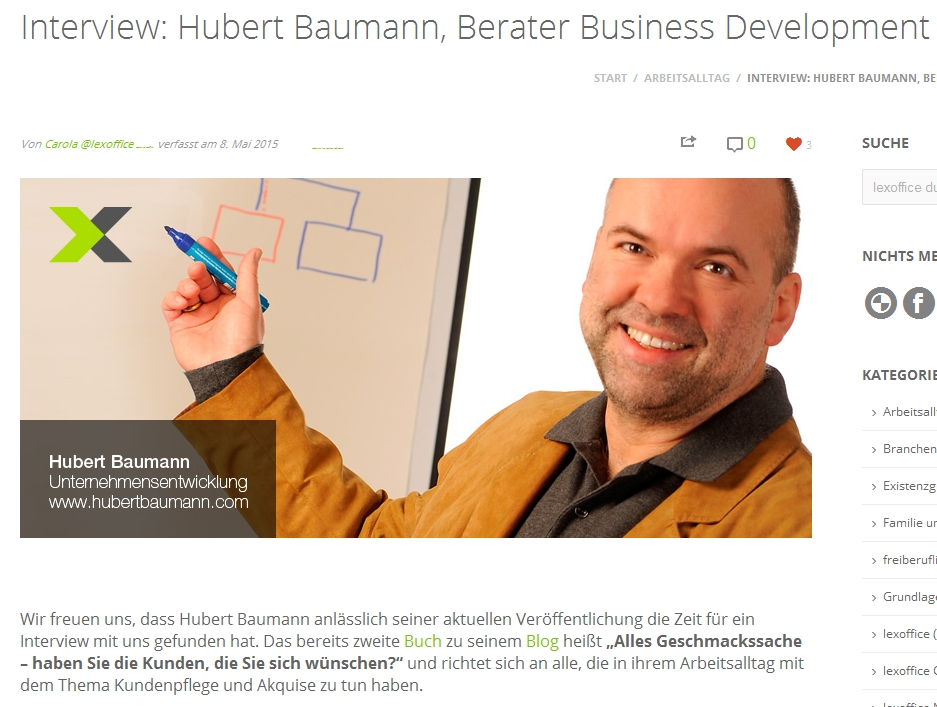 Interview Hubert Baumann lexoffice-Blog